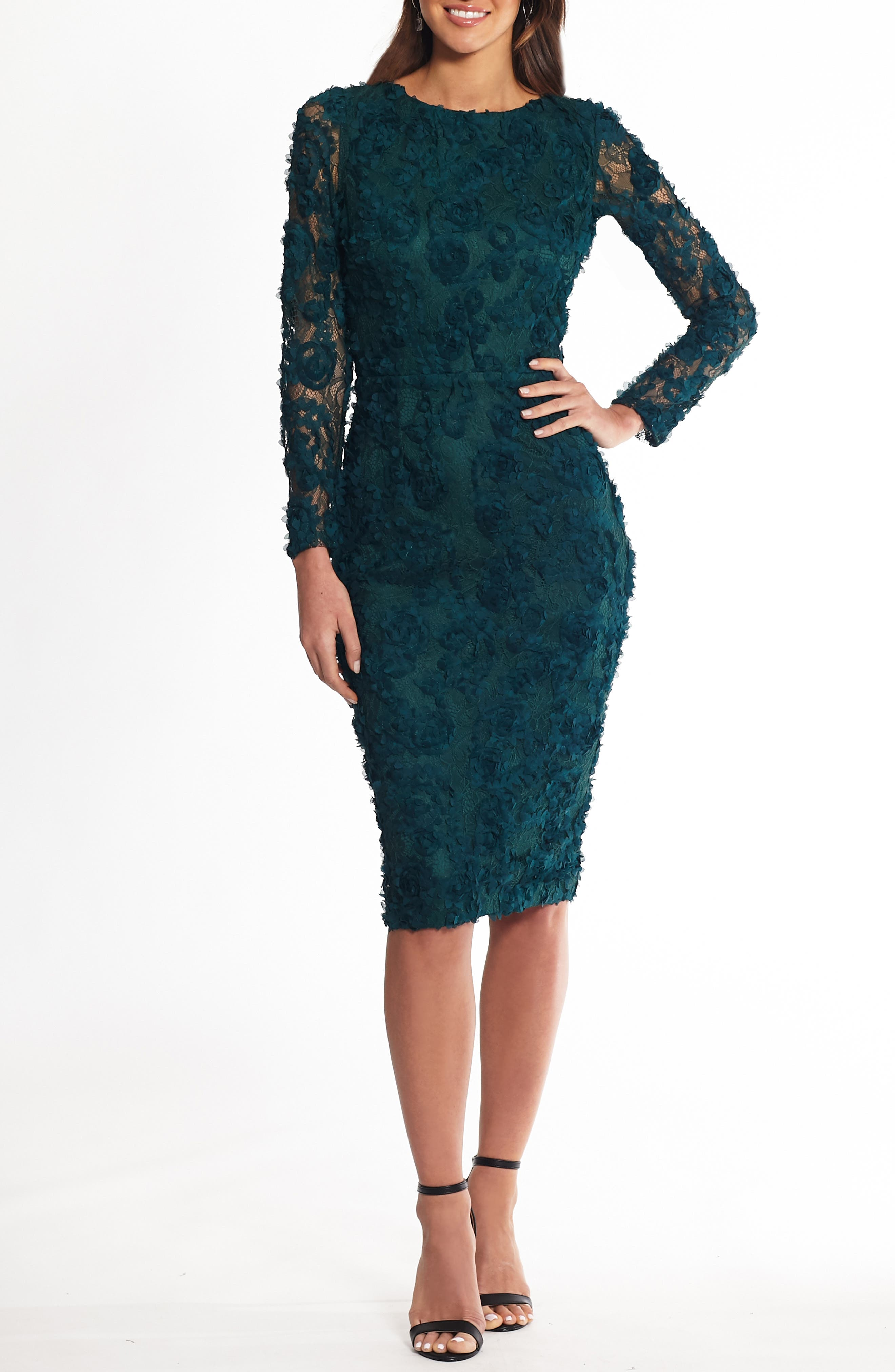 A luxe lace backdrop covered in fluttery details provides an air of sweet sophistication in a dress that\\\'s designed to impress at your next festive fete. Style Name: Xscape Lace Applique Long Sleeve Cocktail Dress. Style Number: 5829440. Available in stores.