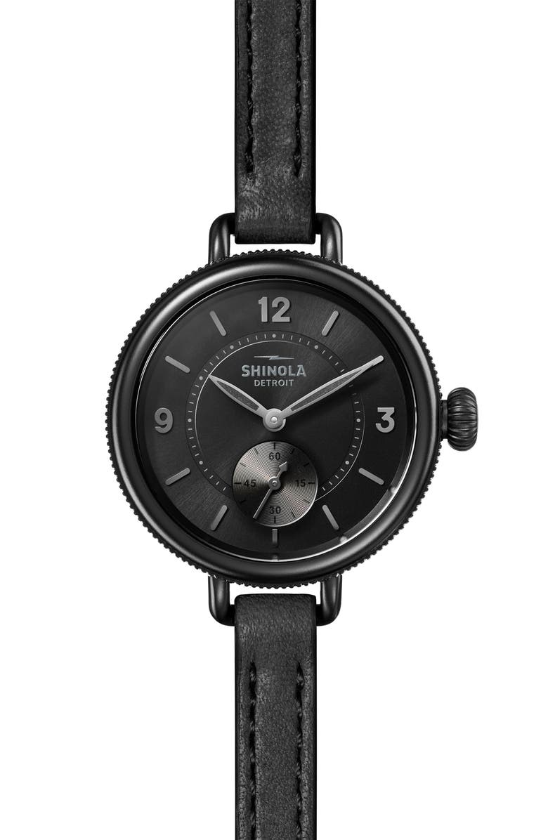 SHINOLA The Birdy Leather Strap Watch, 34mm, Main, color, BLACK