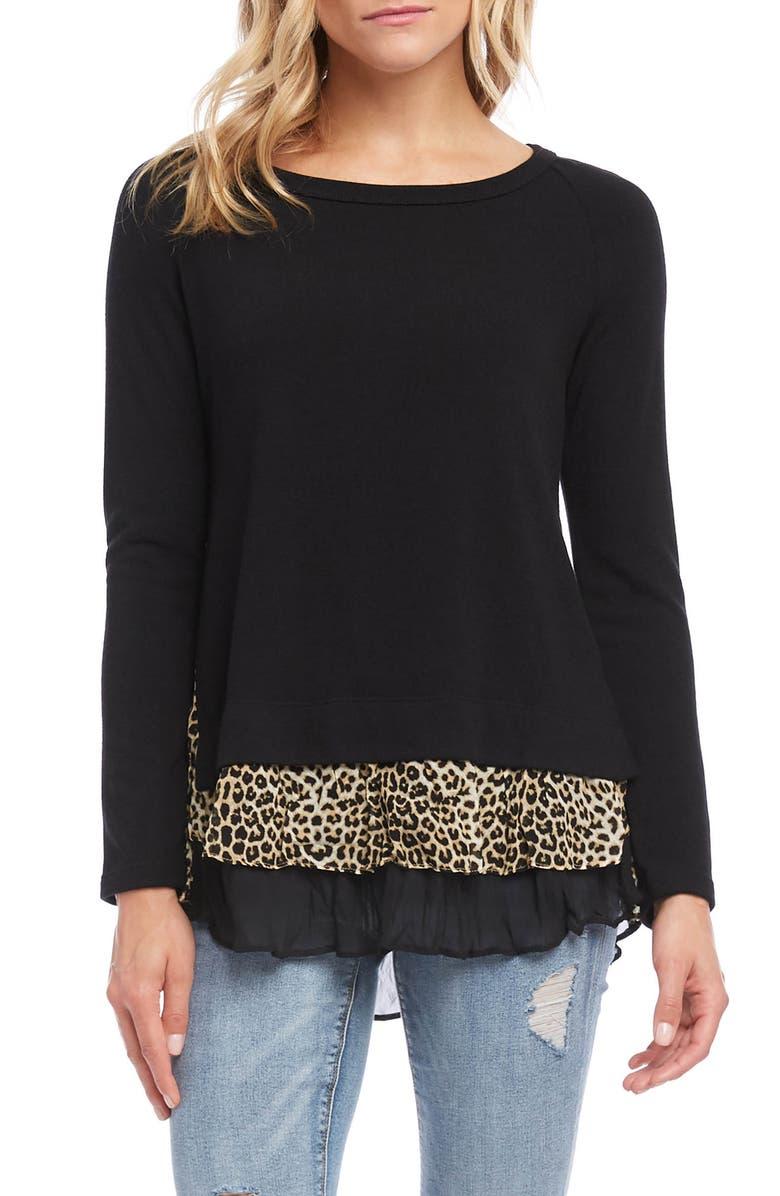 KAREN KANE Layered Sweater, Main, color, 001