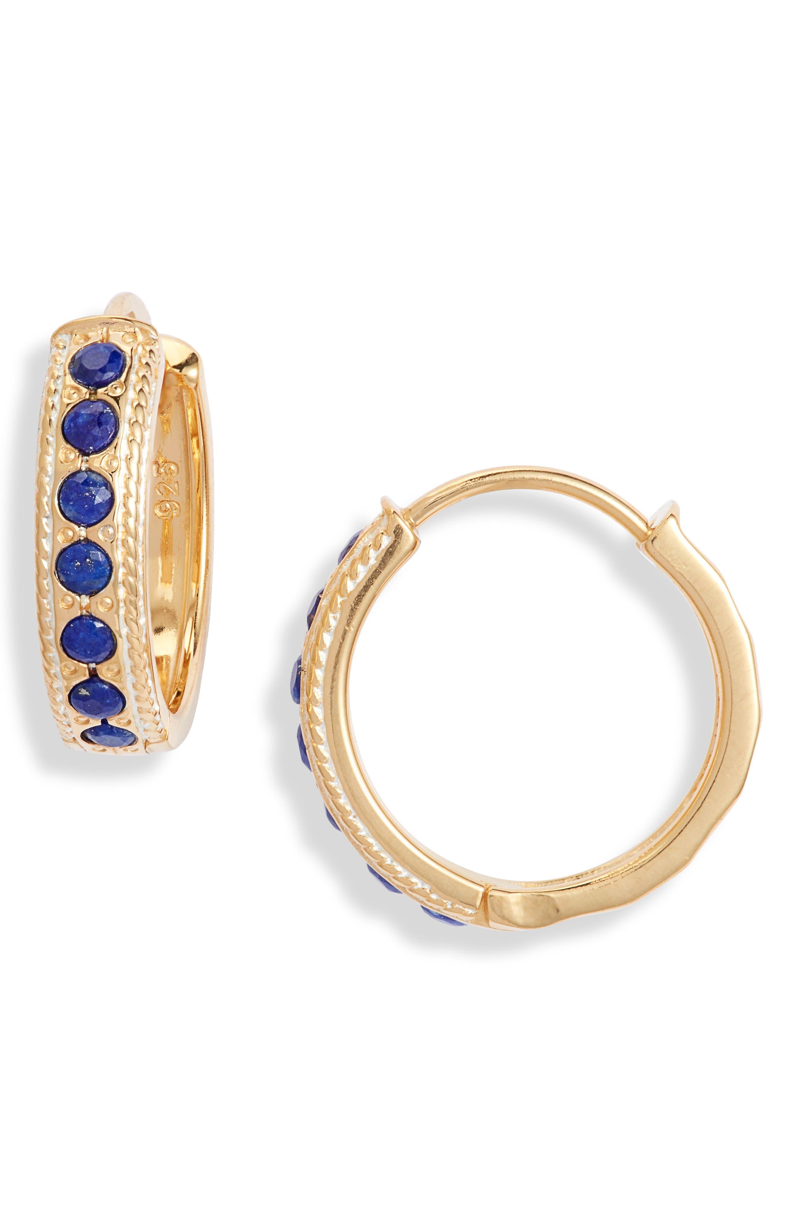 Lapis Lazuli Hammered Huggie Hoop Earrings