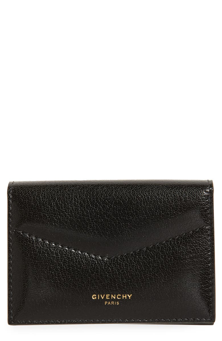 GIVENCHY Leather Card Holder, Main, color, BLACK