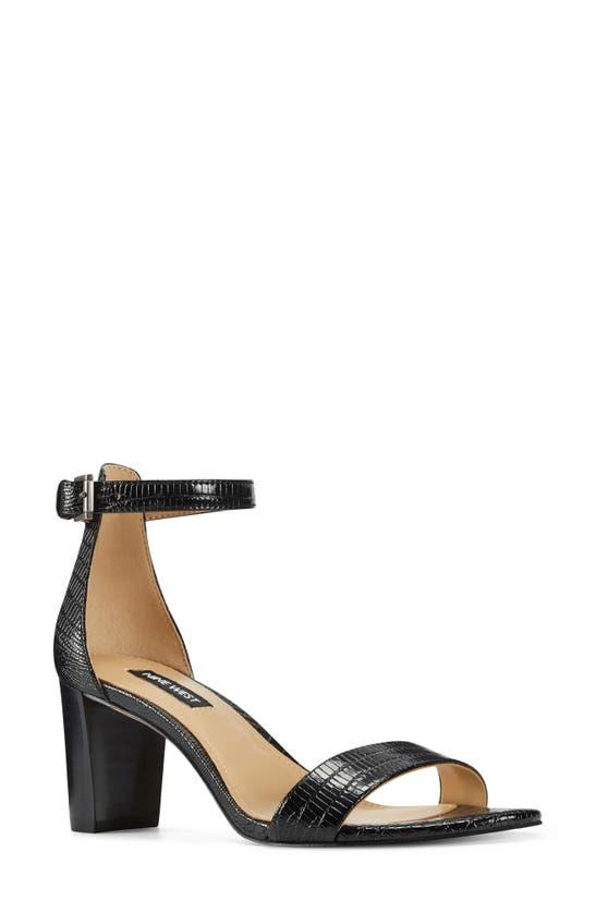 Nine West Women's Pruce Ankle Strap Block Heel Sandals Women's Shoes In Black Lizard