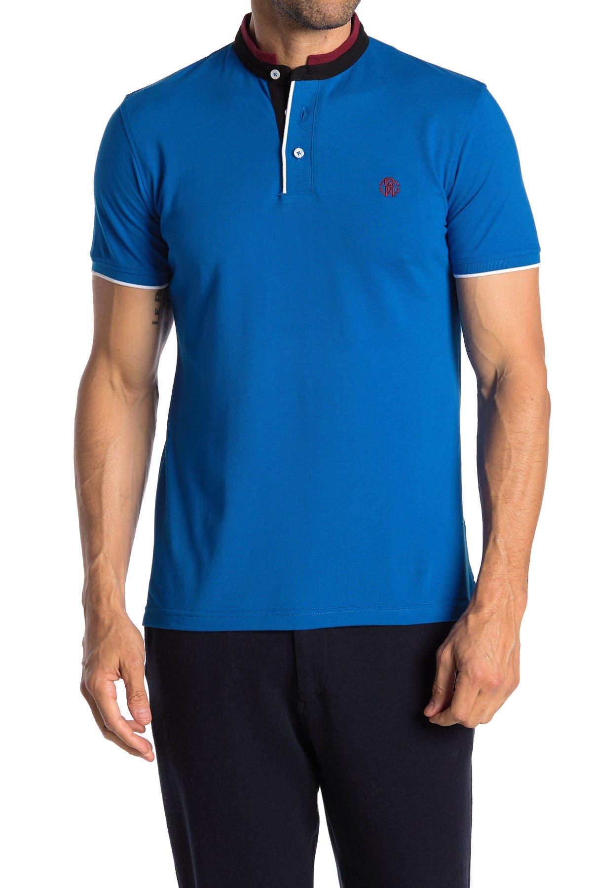 Image of Roberto Cavalli Contrast Band Collar Short Sleeve Polo