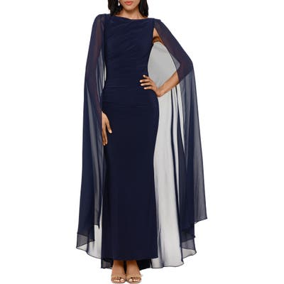 Betsy & Adam Ruched Trumpet Gown With Chiffon Cape, Blue