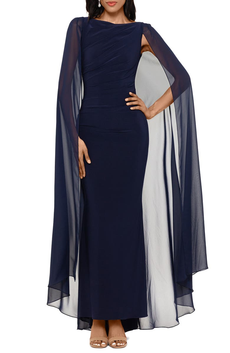 BETSY & ADAM Ruched Trumpet Gown with Chiffon Cape, Main, color, NAVY