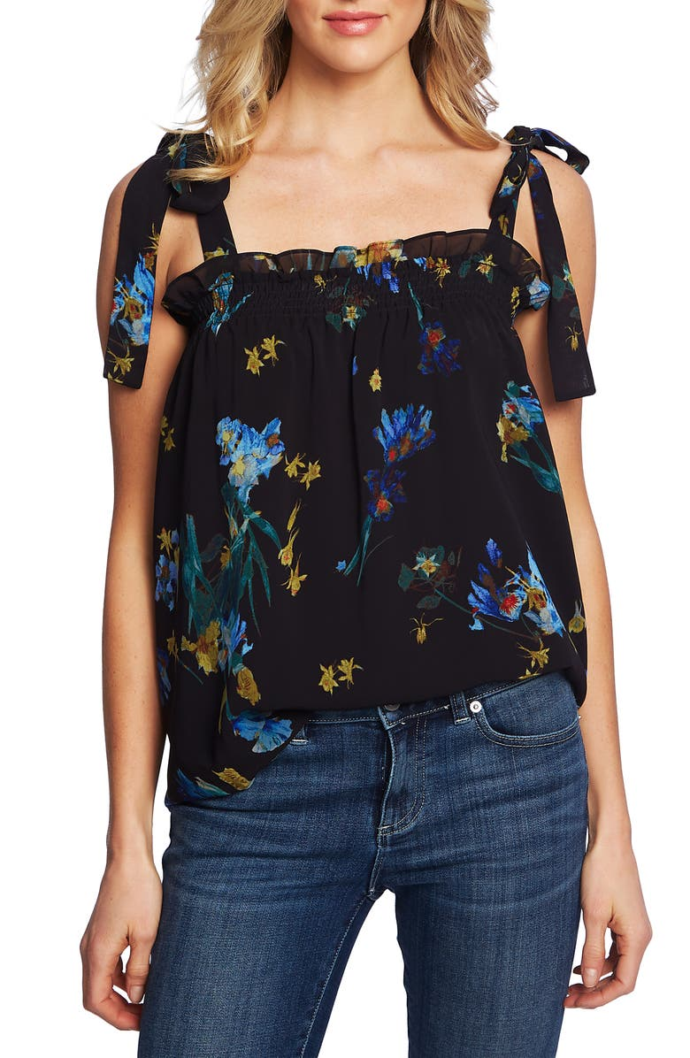 CECE Watercolor Floral Top, Main, color, 006