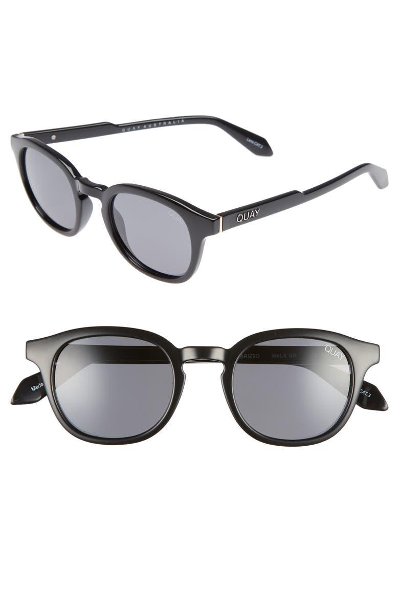 QUAY AUSTRALIA Walk On 47mm Polarized Sunglasses, Main, color, BLACK / SMOKE LENS