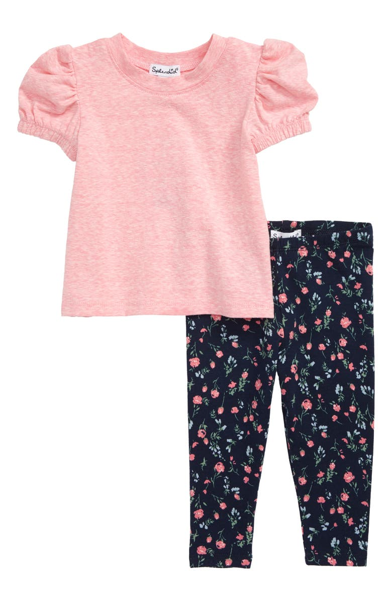 SPLENDID Ruffle Shirt & Floral Leggings Set, Main, color, 660