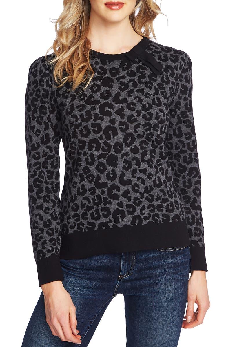 CECE Leopard Cotton Sweater, Main, color, MEDIUM HEATHER GREY
