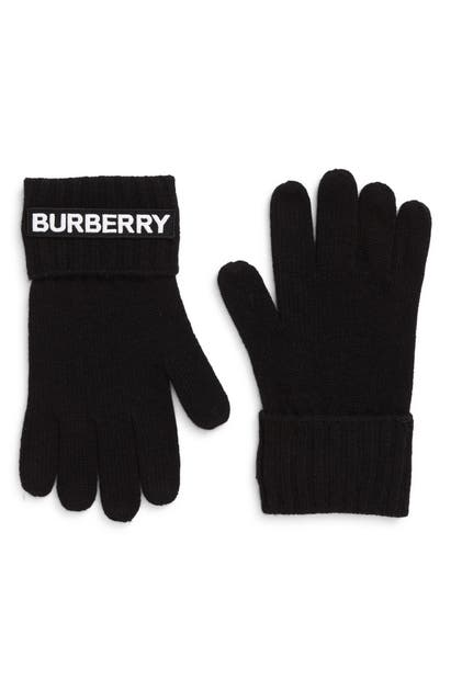 Burberry KINGDOM LOGO APPLIQUE CASHMERE GLOVES