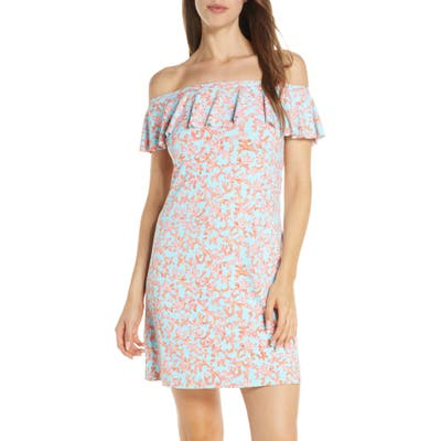 Tommy Bahama Coral Cabana Off-The-Shoulder Ruffle Cover-Up Dress