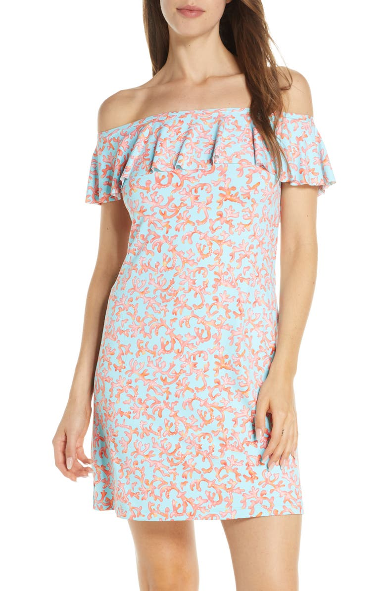 TOMMY BAHAMA Coral Cabana Off-the-Shoulder Ruffle Cover-Up Dress, Main, color, SWIMMING POOL