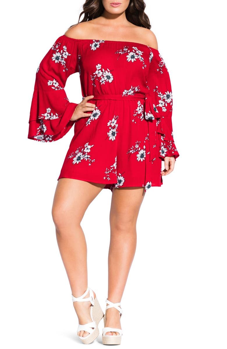CITY CHIC Love Floral Long Sleeve Off the Shoulder Romper, Main, color, LOVE FLORAL