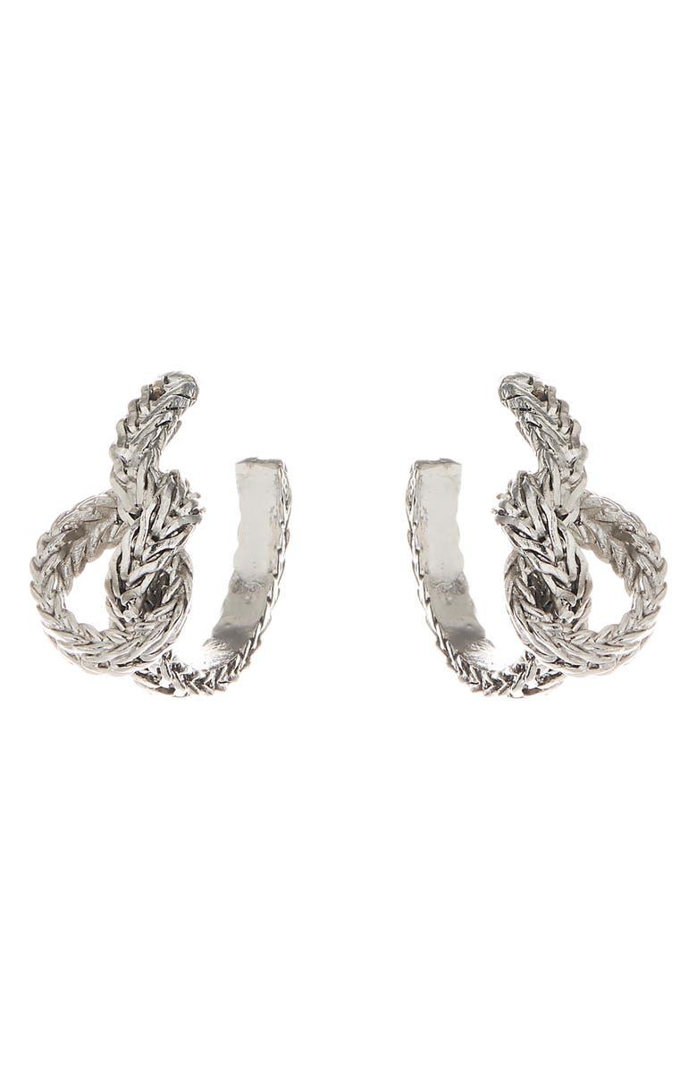 OSCAR DE LA RENTA Braided Knot Small Hoop Earrings, Main, color, ANTIQUE SILVER