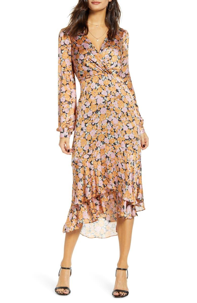 WAYF Celeste Ruffle Midi Dress, Main, color, PINK-GOLD FLORAL