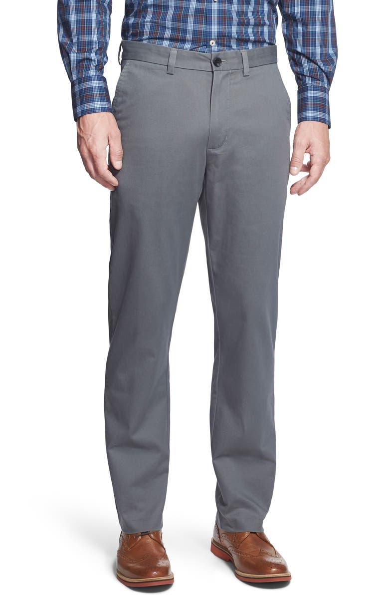 NORDSTROM MEN'S SHOP Wrinkle Free Straight Leg Chinos, Main, color, GREY CASTLEROCK