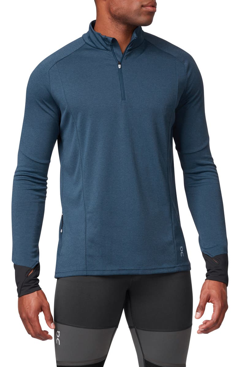 ON Weather Quarter Zip Performance Pullover, Main, color, NAVY