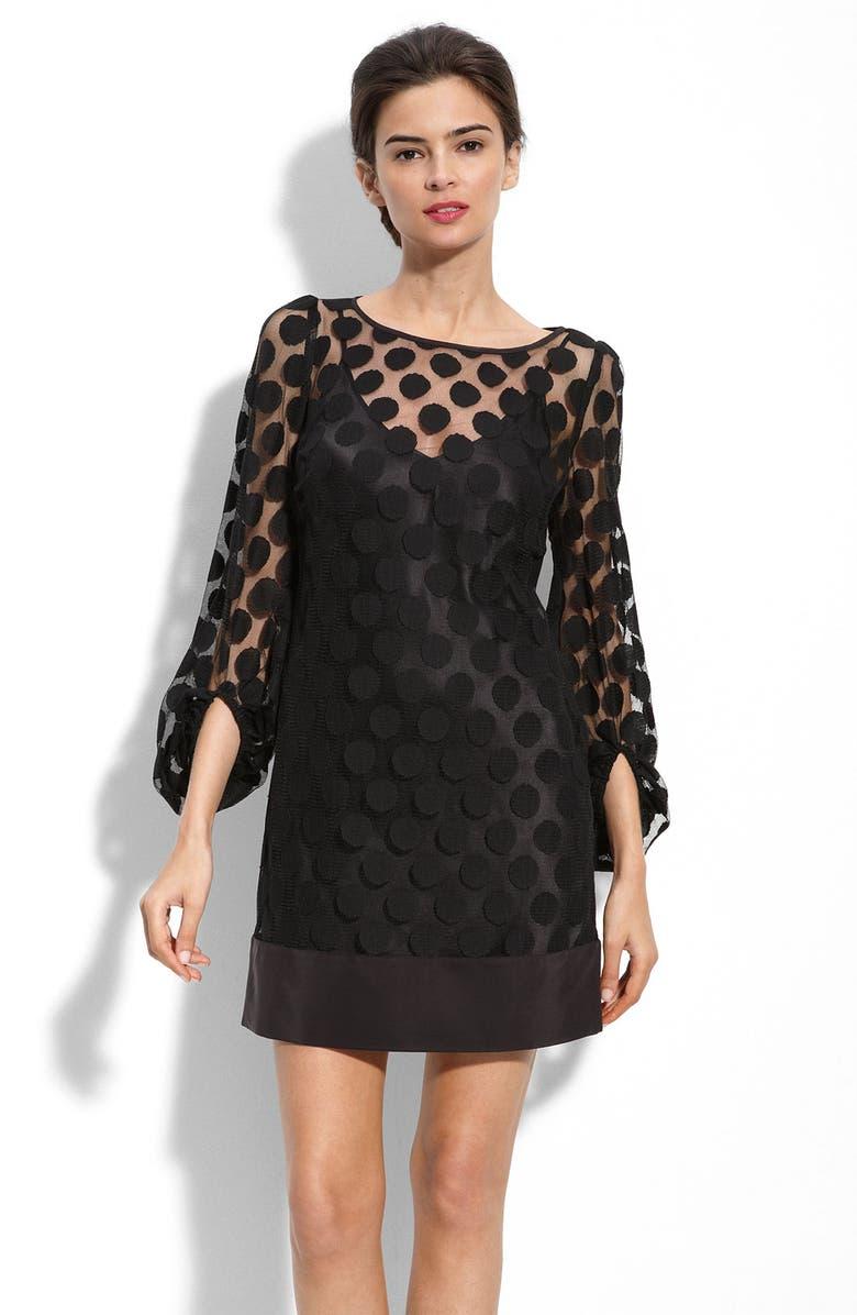 LAUNDRY BY SHELLI SEGAL Polka Dot Mesh Dress, Main, color, 001