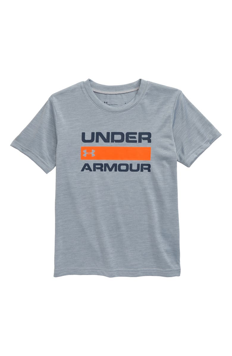 UNDER ARMOUR HeatGear<sup>®</sup> Twist Graphic Tee, Main, color, MOD GRAY