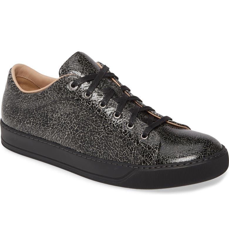 LANVIN Crackled Sneaker, Main, color, BLACK/ WHITE
