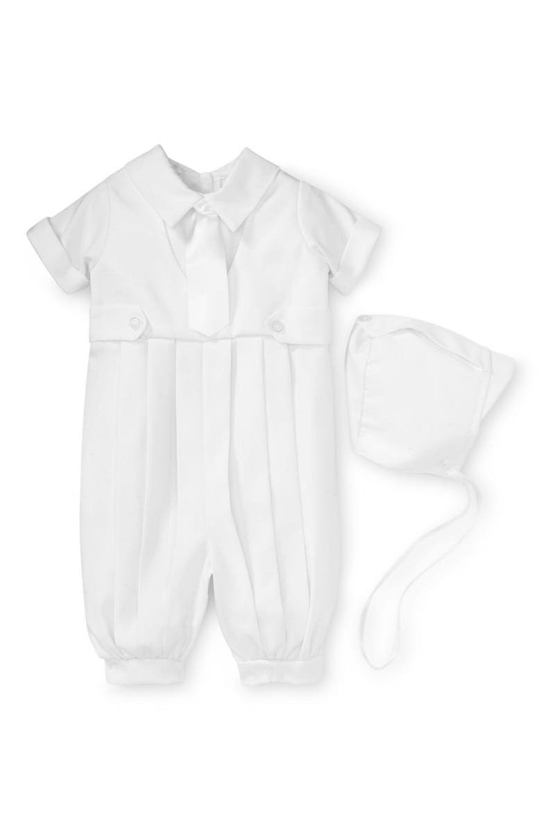 LITTLE THINGS MEAN A LOT Gabardine Christening Romper, Main, color, WHITE