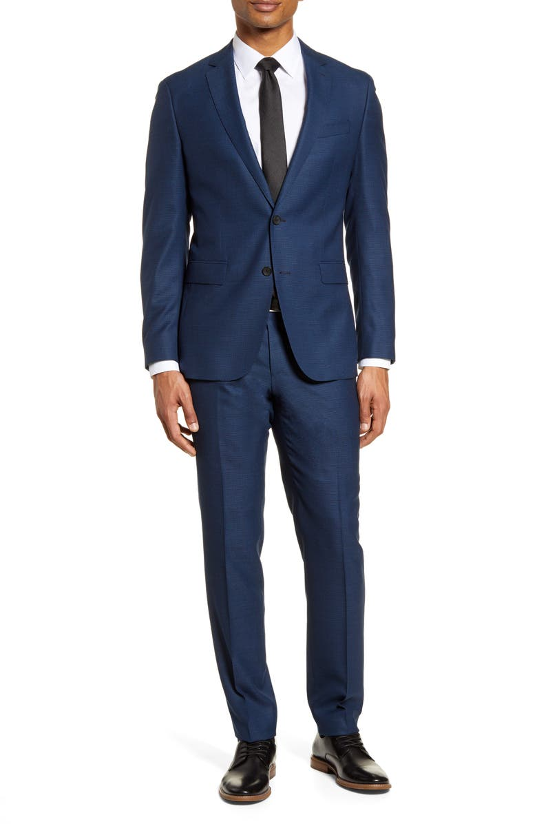 BOSS Novan/Ben Trim Fit Solid Wool Suit, Main, color, OPEN BLUE