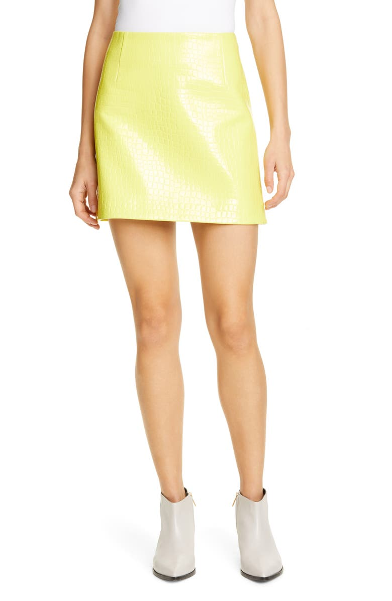 TIBI Croc Embossed Faux Patent Leather Miniskirt, Main, color, YELLOW
