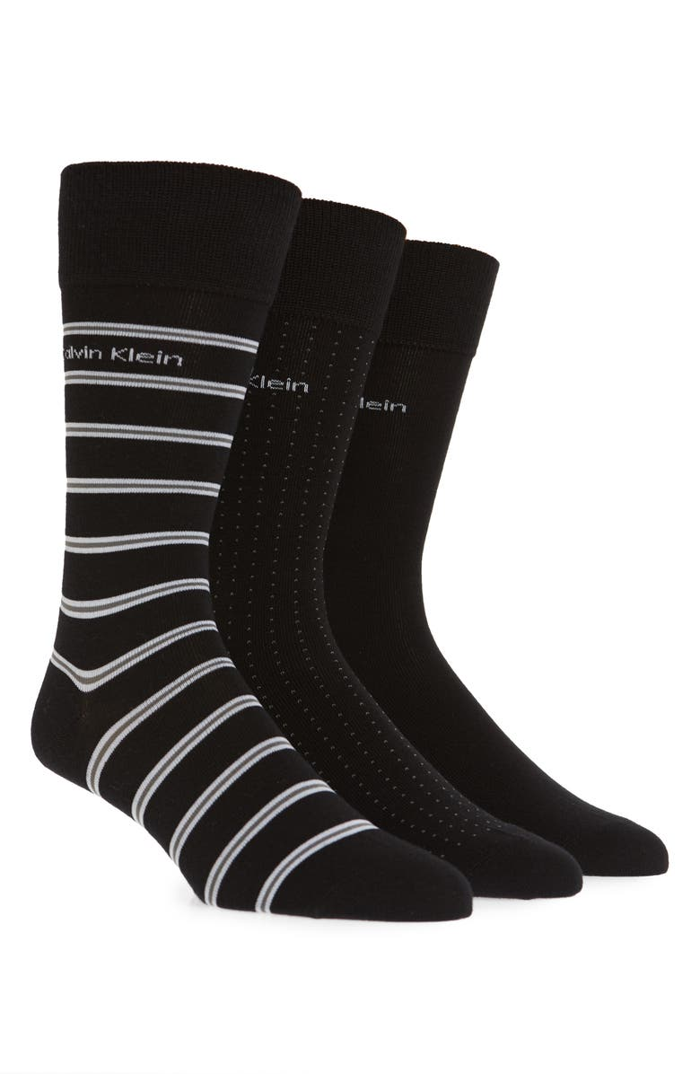 CALVIN KLEIN 3-Pack Cotton Blend Socks, Main, color, BLACK