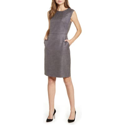 Anne Klein Tweed Sheath Dress, Brown