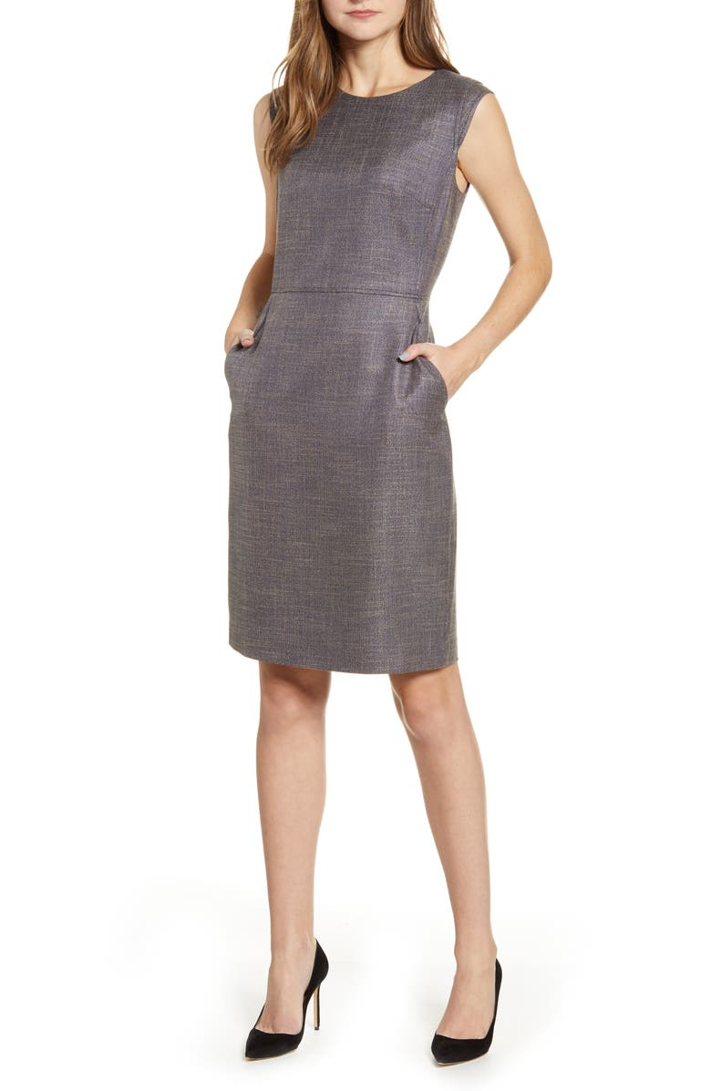 ANNE KLEIN Tweed Sheath Dress, Main, color, SPRUCE/ FAWN