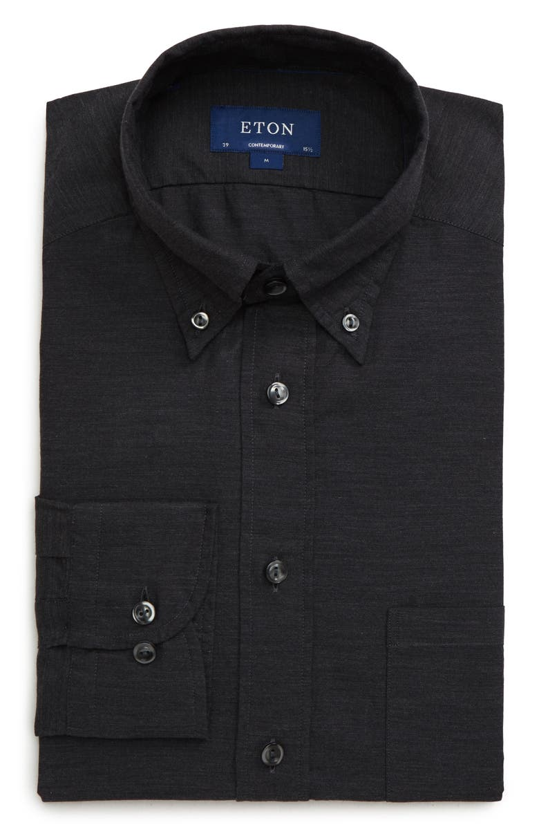 ETON Soft Collection Contemporary Fit Solid Dress Shirt, Main, color, BLACK