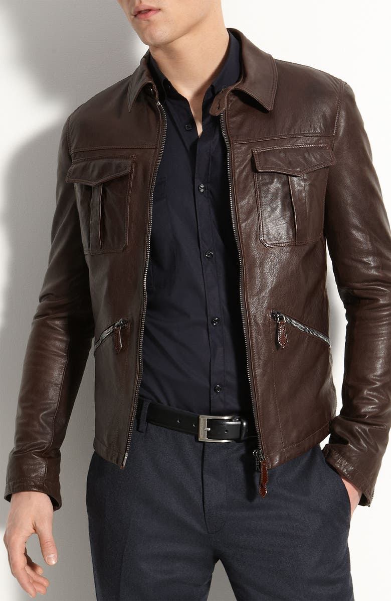 BURBERRY London Leather Bomber Jacket, Main, color, 208