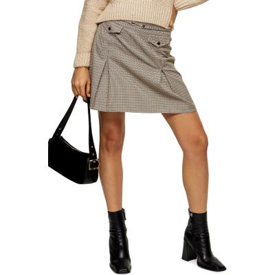 Topshop Archive Check Pleat Miniskirt, US (fits like 6-8) - Yellow
