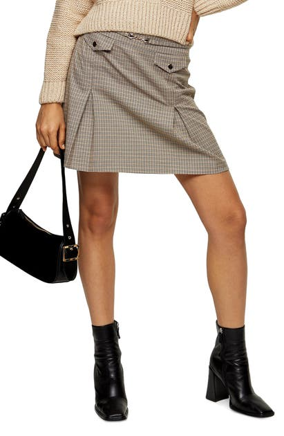 Topshop Archive Check Pleat Miniskirt In Mustard Multi