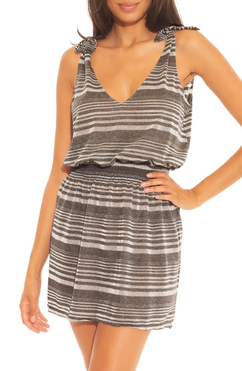 BECCA Shimmer Plunge Cover-Up Dress, Main, color, 020