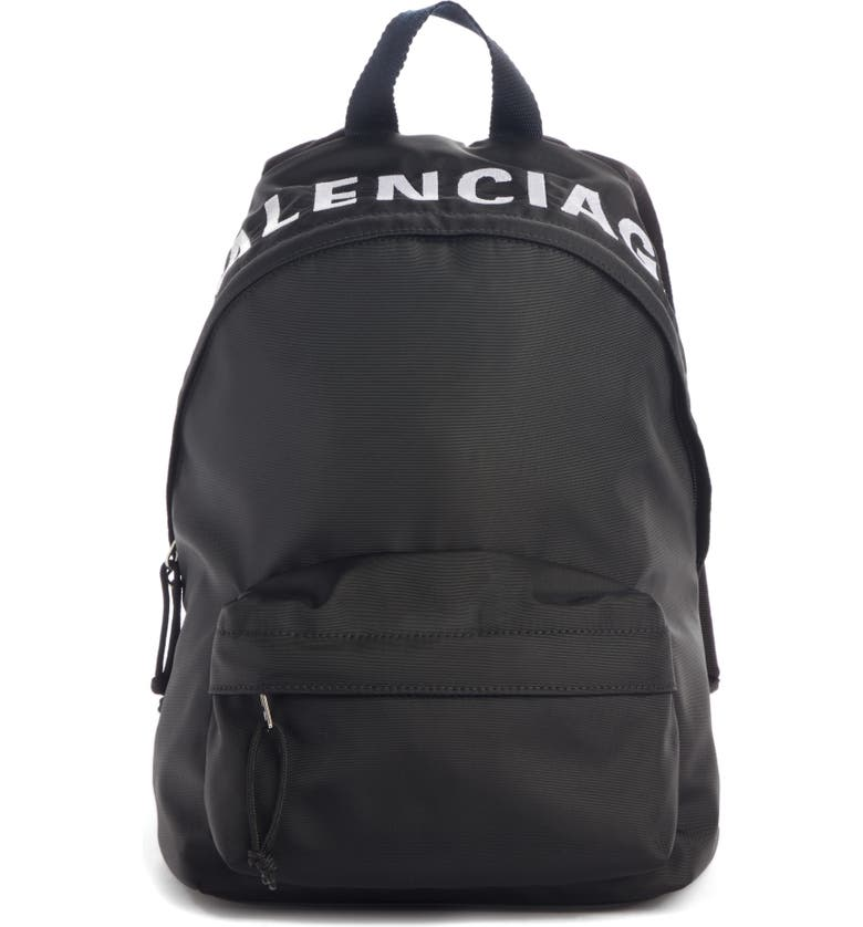 BALENCIAGA Wheel Canvas Backpack, Main, color, BLACK/ NAVY BLUE
