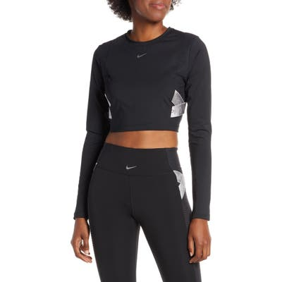 Nike Pro Capsule Aeroadapt Long Sleeve Crop Top, Black