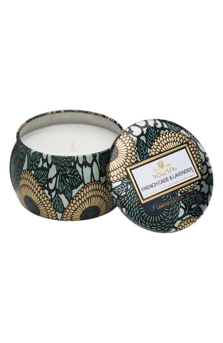 VOLUSPA Japonica French Cade Lavender Petite Decorative Tin Candle, Main, color, NO COLOR