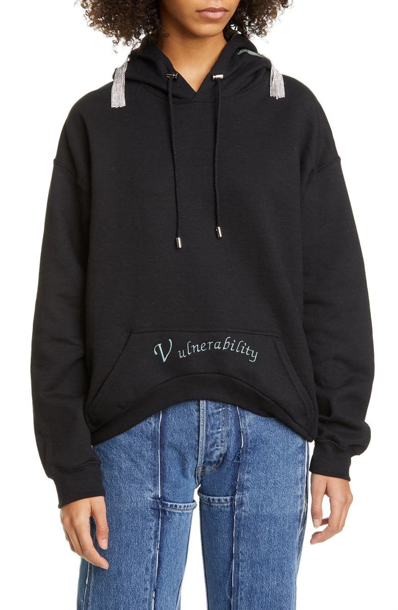 COLLINA STRADA Vulnerability Cotton Blend Hoodie with Rhinestone Pins, Main, color, BLACK