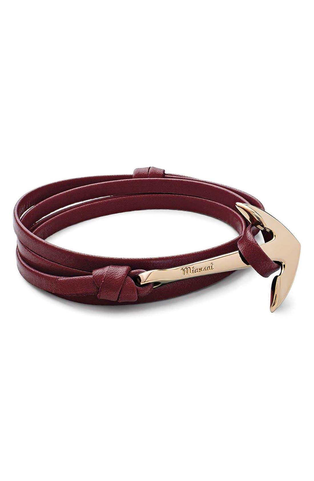 ,                             Gold Anchor Leather Bracelet,                             Alternate thumbnail 14, color,                             930