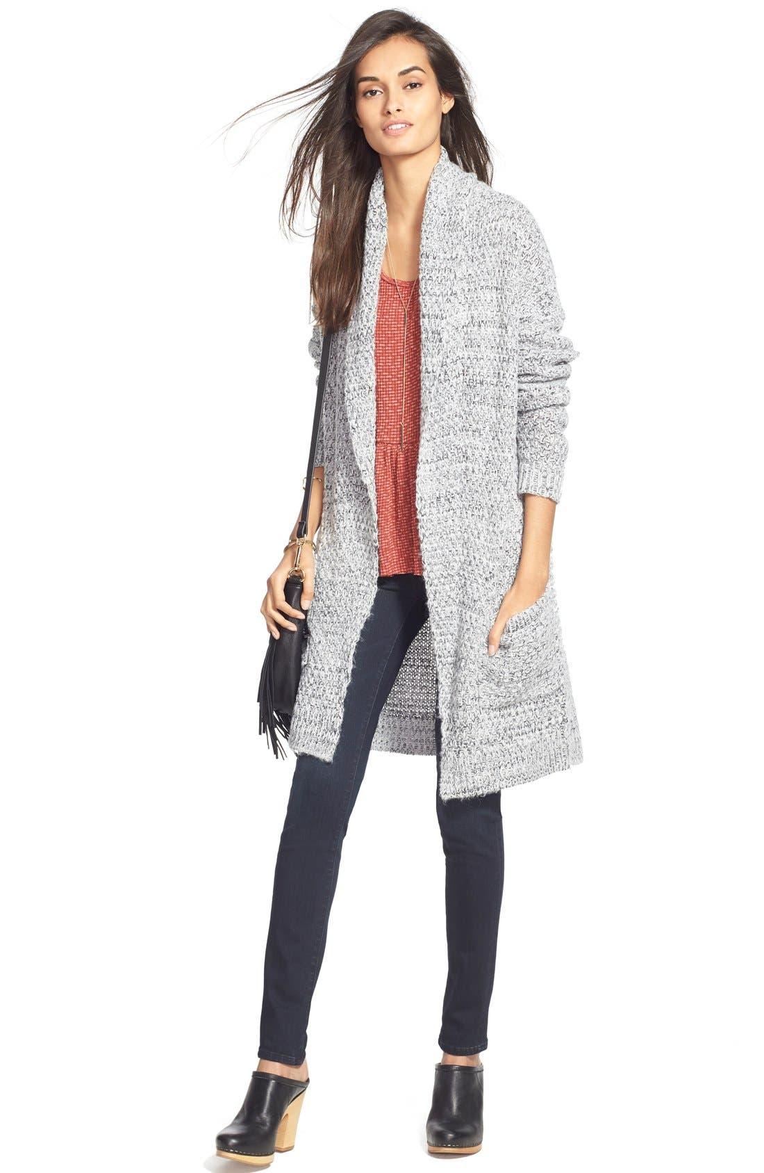 ,                             Marled Long Open Front Cardigan,                             Alternate thumbnail 10, color,                             020