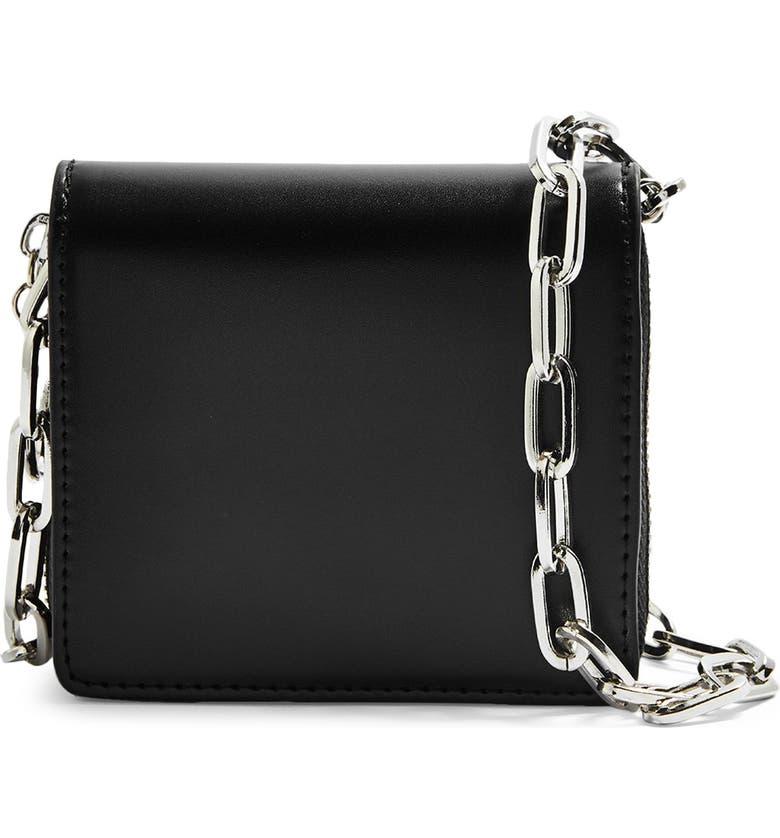 TOPSHOP Faux Leather Crossbody Bag, Main, color, BLACK