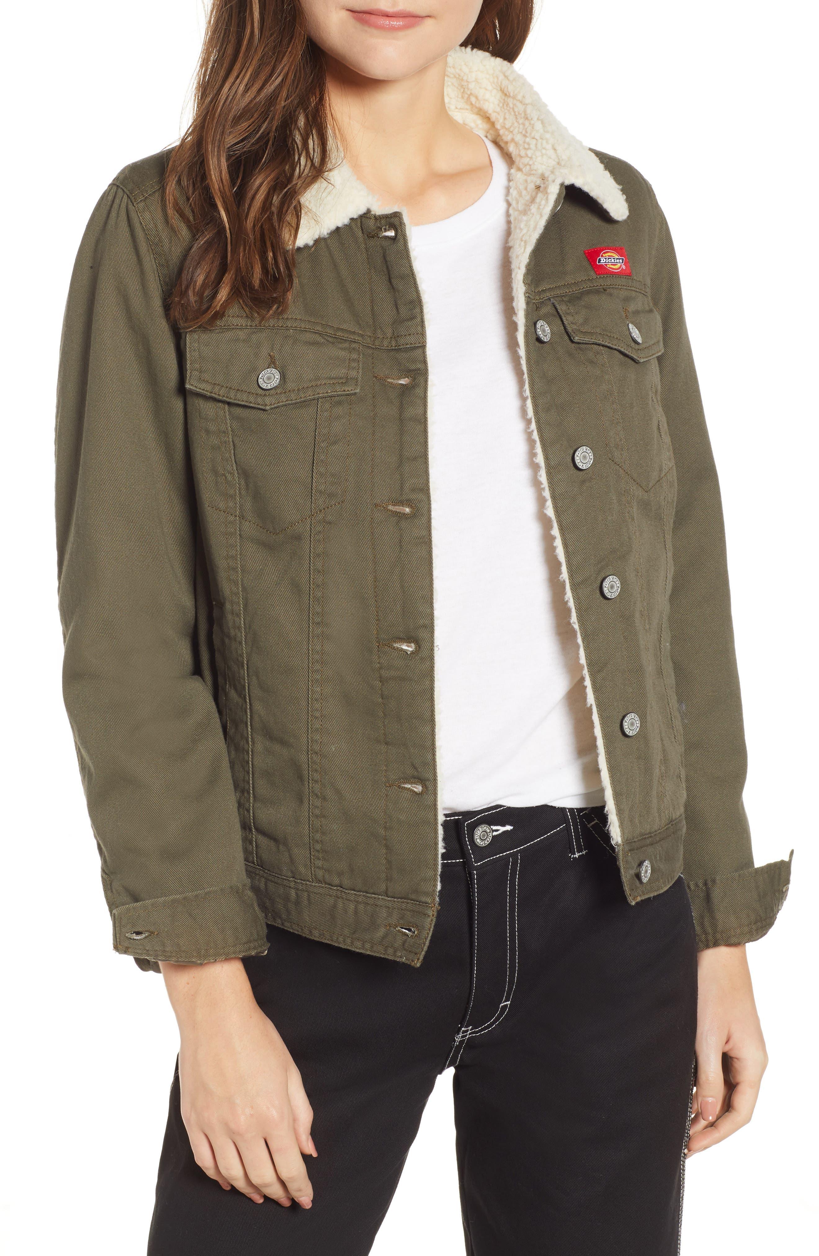 Dickies Fleece Lined Twill Jacket, Green