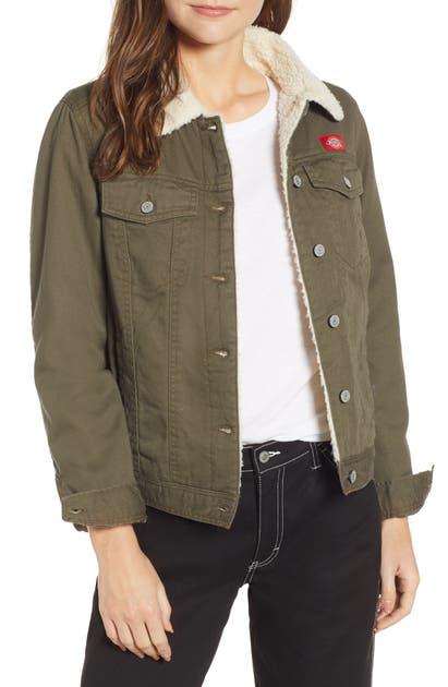 Dickies Fleece Lined Twill Jacket In Olive