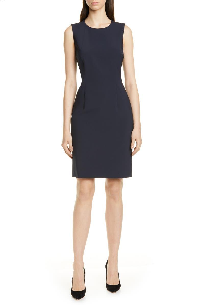 BOSS Dirusa Tropical Stretch Wool Dress, Main, color, NAVY