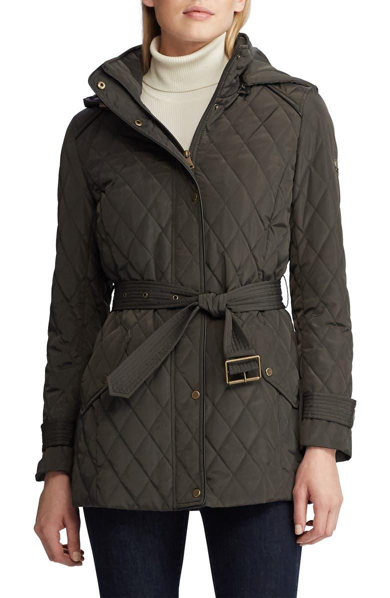 LAUREN RALPH LAUREN Single Breasted Quilted Jacket, Main, color, DARK MOSS