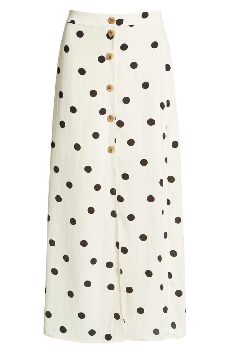High Waist Midi Skirt, Alternate, color, BEIGE ECRU DOT