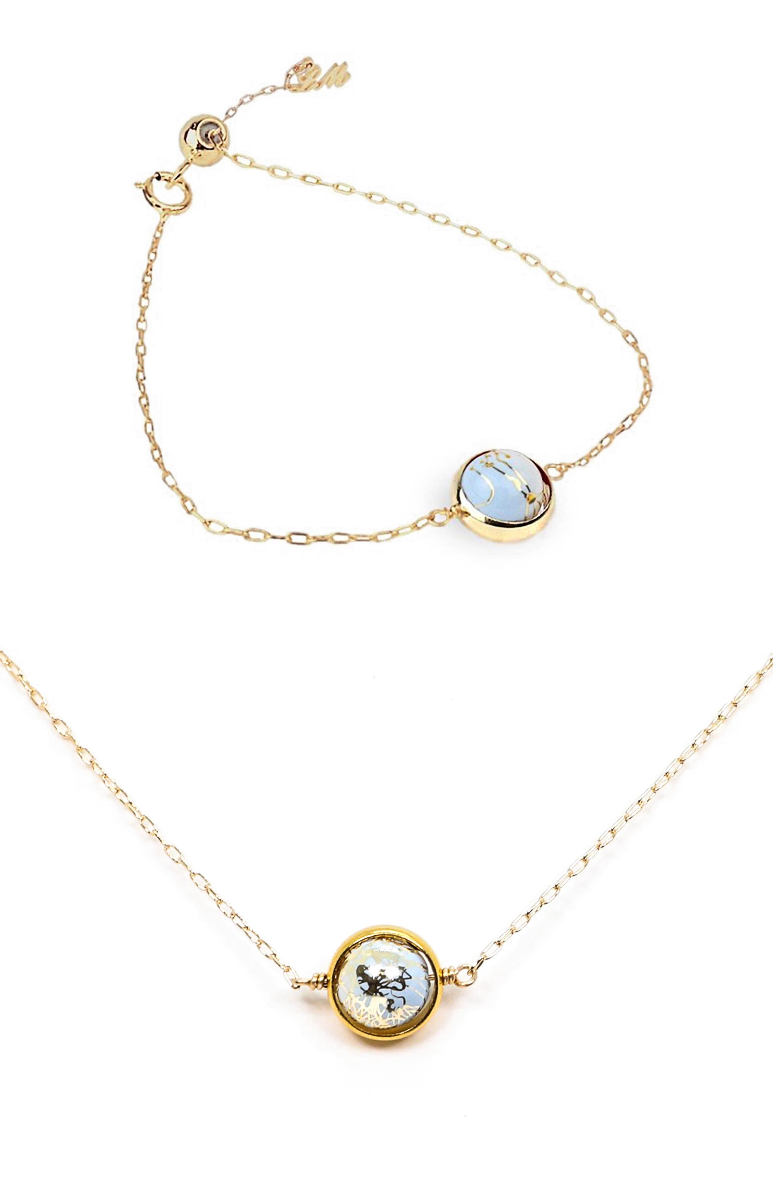 Galaxy Collection Earth & Moon Zodiac Bracelet & Necklace
