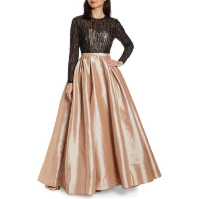 MAC Duggal Long Sleeve Illusion Lace Bodice Prom Dress, Beige