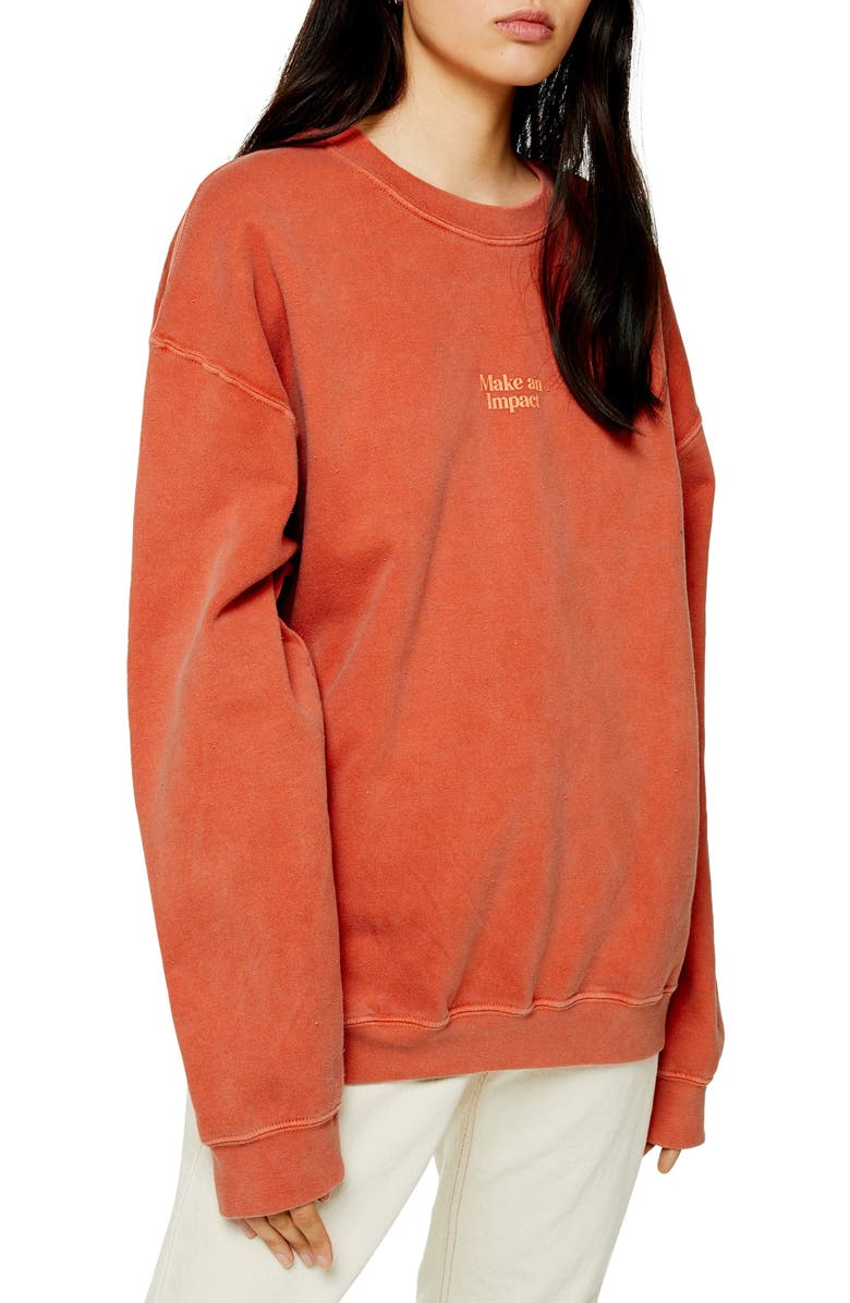 TOPSHOP Make An Impact Sweatshirt, Main, color, 950